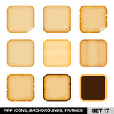 Set Of Colorful App Icon Frames, Templates, Backgrounds. Set 17 Stock Images