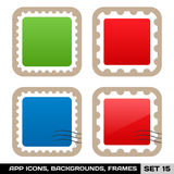 Set Of Colorful App Icon Frames, Templates, Buttons. Set 15 Stock Photography
