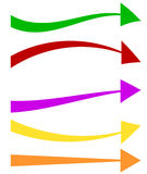 Set of 5 colorful arrow shapes. Long, horizontal arrows Royalty Free Stock Photo