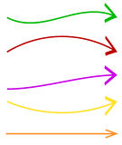 Set of 5 colorful arrow shapes. Long, horizontal arrows Royalty Free Stock Photos