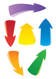 Set of colorful art arrows. Of different direction Stock Images