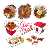 Set of colorful Asian food Stock Image