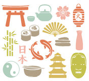 Asian set. Set of colorful asian icons Stock Images