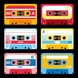 Set of colorful audio cassettes Royalty Free Stock Photo