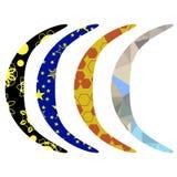 Set of Colorful Australian Boomerang. Isolated on White Background Royalty Free Stock Photos