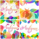 Set of colorful autumn leaves illustration Stock Image