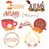 Set of colorful autumn stickers with leaves and inscription hello autumn. stock photography
