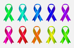 Set of colorful awareness ribbons isolated on Stock Images