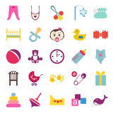 Set of colorful baby item icons Stock Image
