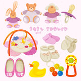 Set with colorful baby items for infant girls Royalty Free Stock Photo