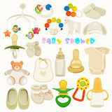 Set with colorful baby items. Neutral design Royalty Free Stock Image
