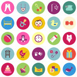 Set of colorful baby items with shadows Royalty Free Stock Photo