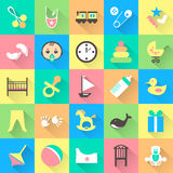 Set of colorful baby items with shadows. Vector Stock Photos