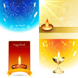 Set of colorful background of diwali illustration Stock Image