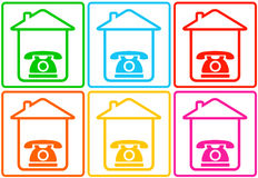 Abstract background with home and phone. Set colorful background with home and phone Stock Photography