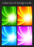 Set of colorful backgrounds with light effect Royalty Free Stock Photo