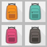 Set of colorful backpacks with long shadow Royalty Free Stock Photography