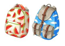 Set of colorful backpacks with red melon ans clouds Stock Photo