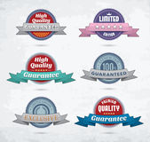 Set of colorful badges with ribbons Stock Photography