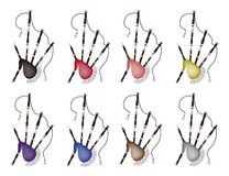 A Set of Colorful Bagpipe on White Background Royalty Free Stock Photos