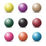 Set of colorful ball glossy spheres on white. Vector illustratio Royalty Free Stock Photos
