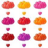 Balloons bunches with hearts, set Royalty Free Stock Images