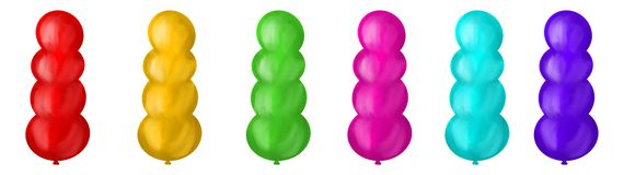Set of colorful balloons, digital illustration, different colors royalty free illustration
