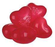 Set of colorful balloons in form of hearts. On white Stock Photography