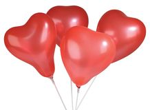 Set of colorful balloons in form of hearts. On white Stock Images