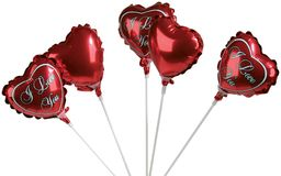 Set of colorful balloons in form of hearts. On white Stock Photo