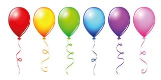 Set of colorful balloons in rainbow colors isolated on white background royalty free illustration