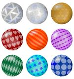 A set of colorful balls with patterns Stock Photo