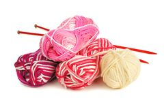 Set of colorful balls of yarn Royalty Free Stock Photo