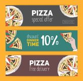 Set of colorful banner templates with hand drawn pizza cut into slices. Special offer, dinner time discount and free Stock Image