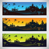 Set of colorful banners on Halloween Royalty Free Stock Photography