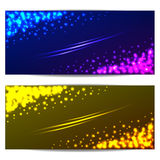 Set colorful banners with stars and sparks Royalty Free Stock Photo