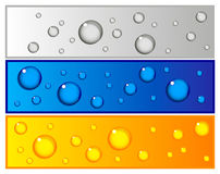 Set of colorful banners with water drops Royalty Free Stock Images