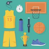 Set of colorful basketball items. Isolated flat vector design. Set of basketball items: uniform, ball, basket, golden trophy, timer, digital wristwatches with royalty free illustration