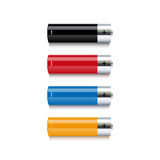 Set of colorful batteries on white background Royalty Free Stock Images