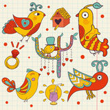 Set of colorful beautiful birds drawn in a childlike style. Royalty Free Stock Photo