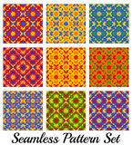 Set of 9 colorful beautiful geometric seamless patterns with rhombus, square, triangle and star shapes Stock Photography