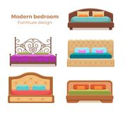 Set of colorful beds with pillows and blankets Stock Photography