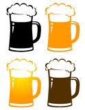Set of colorful beer mugs with foam Royalty Free Stock Photos