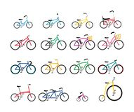 Set of colorful bicycles with various size and form royalty free illustration