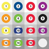 Set of colorful billiard balls. Set of 16 colorful billiard balls Stock Illustration