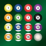 Set of colorful billiard balls. Set of 16 colorful billiard balls Royalty Free Illustration