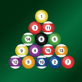 Set of colorful billiard balls. Set of 16 colorful billiard balls Royalty Free Stock Image