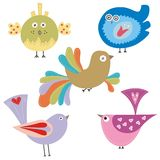 Set of colorful birds. Set of 5 colorful birds Royalty Free Stock Images