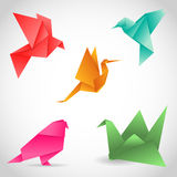A set of 5 colorful birds made of paper in origami technique. Ve Stock Image