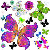 Set colorful and black butterflies stock illustration